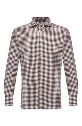 Мужская рубашка изо льна и хлопка LUIGI BORRELLI коричневого цвета, арт. EV08/NAND0/S31134 | Фото 1