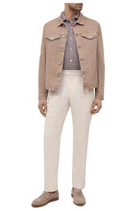 Мужская рубашка изо льна и хлопка LUIGI BORRELLI коричневого цвета, арт. EV08/NAND0/S31134 | Фото 2