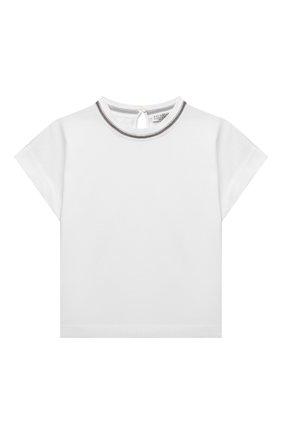 Детская хлопковая футболка BRUNELLO CUCINELLI белого цвета, арт. B0A45T030A | Фото 1