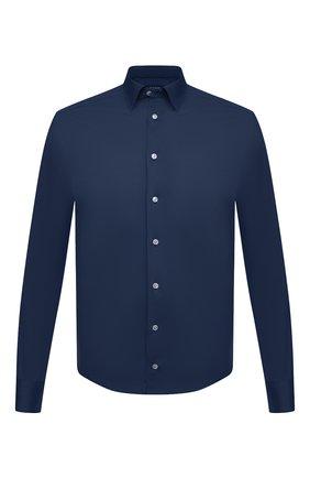 Мужская хлопковая рубашка ETON темно-синего цвета, арт. 1000 00395 | Фото 1 (Стили: Кэжуэл; Принт: Однотонные; Случай: Повседневный; Рубашки М: Regular Fit; Воротник: Кент; Материал внешний: Хлопок; Длина (для топов): Стандартные; Рукава: Длинные; Манжеты: На пуговицах)