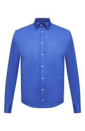 Мужская хлопковая рубашка ETON синего цвета, арт. 1000 00395 | Фото 1 (Рубашки М: Regular Fit; Случай: Повседневный; Воротник: Кент; Рукава: Длинные; Стили: Кэжуэл; Длина (для топов): Стандартные; Принт: Однотонные; Материал внешний: Хлопок; Манжеты: На пуговицах)