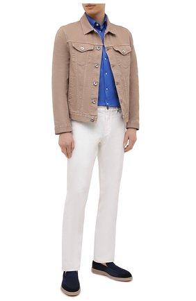 Мужская хлопковая рубашка ETON синего цвета, арт. 1000 00395 | Фото 2 (Рубашки М: Regular Fit; Случай: Повседневный; Воротник: Кент; Рукава: Длинные; Стили: Кэжуэл; Длина (для топов): Стандартные; Принт: Однотонные; Материал внешний: Хлопок; Манжеты: На пуговицах)