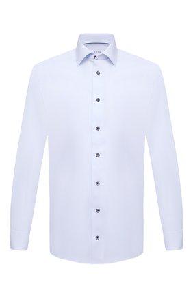 Мужская хлопковая сорочка ETON голубого цвета, арт. 1000 02195 | Фото 1 (Воротник: Акула; Материал внешний: Хлопок; Случай: Формальный; Рукава: Длинные; Длина (для топов): Стандартные; Стили: Классический; Рубашки М: Regular Fit; Принт: Однотонные; Манжеты: На пуговицах)
