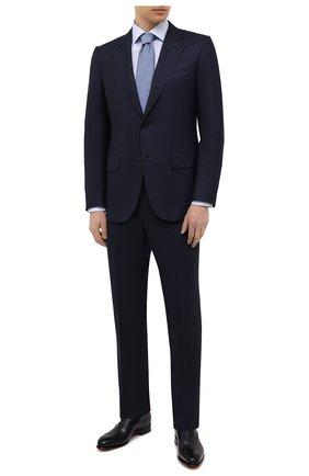 Мужская хлопковая сорочка ETON голубого цвета, арт. 1000 02195 | Фото 2 (Воротник: Акула; Материал внешний: Хлопок; Случай: Формальный; Рукава: Длинные; Длина (для топов): Стандартные; Стили: Классический; Рубашки М: Regular Fit; Принт: Однотонные; Манжеты: На пуговицах)