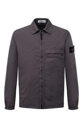 Мужская хлопковая рубашка STONE ISLAND темно-серого цвета, арт. 741510319   Фото 1
