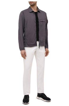 Мужская хлопковая рубашка STONE ISLAND темно-серого цвета, арт. 741510319   Фото 2