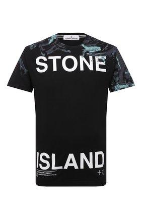 Мужская хлопковая футболка STONE ISLAND черного цвета, арт. 74152NS84 | Фото 1 (Материал внешний: Хлопок; Рукава: Короткие; Длина (для топов): Стандартные; Принт: С принтом)