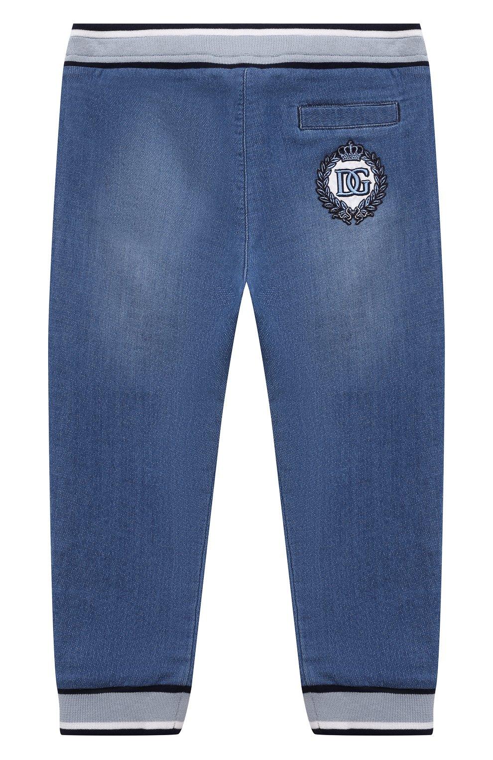 Детские джинсовые джоггеры DOLCE & GABBANA голубого цвета, арт. L1JPT0/G7YDZ   Фото 2