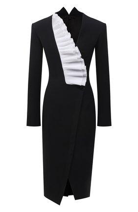 Женское платье из шерсти и шелка TEGIN черного цвета, арт. SD2144 | Фото 1