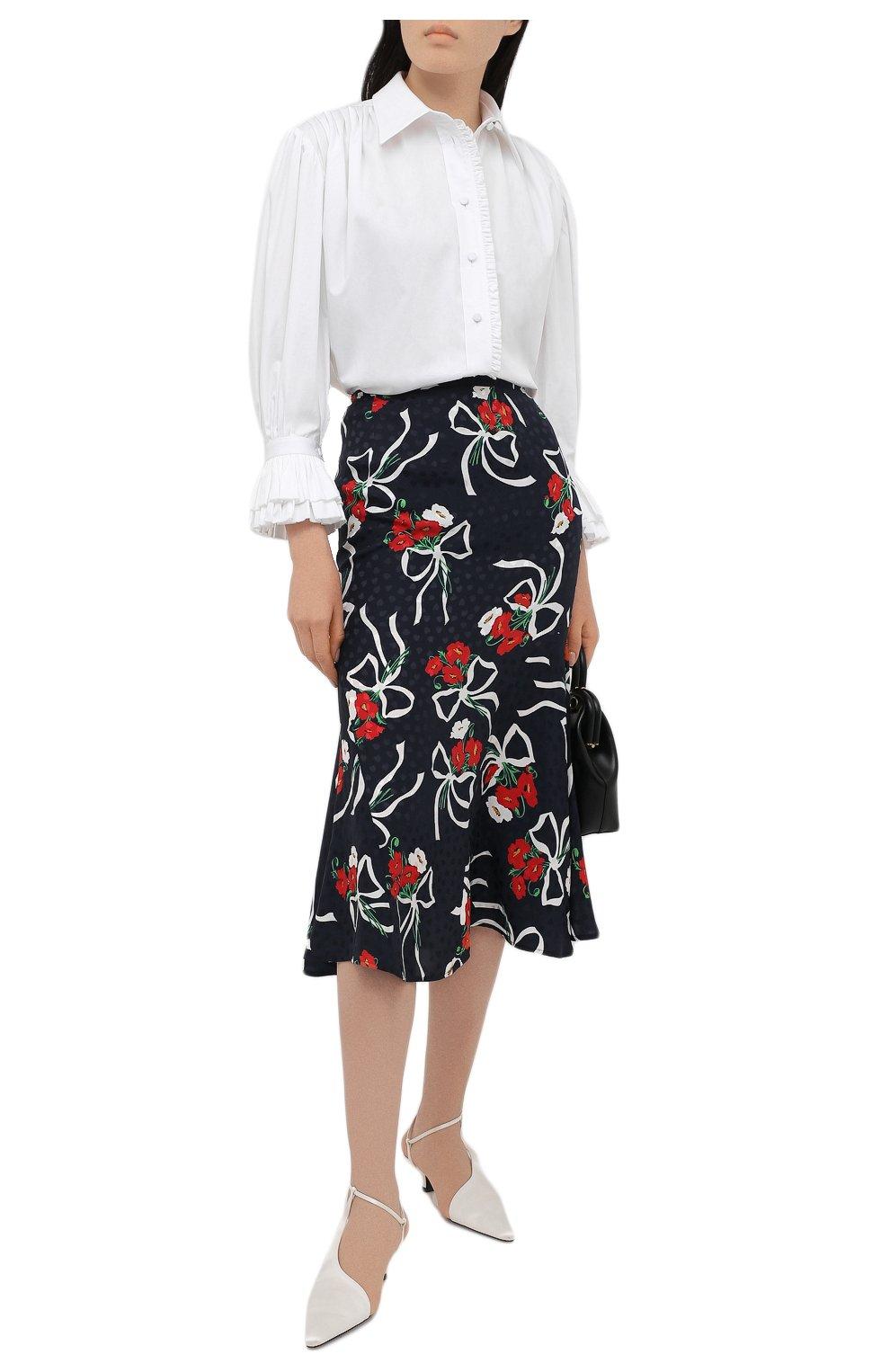 Женская шелковая юбка ALESSANDRA RICH синего цвета, арт. FAB2477-F3142   Фото 2