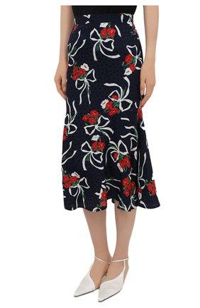 Женская шелковая юбка ALESSANDRA RICH синего цвета, арт. FAB2477-F3142   Фото 3