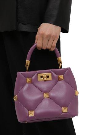 Женская сумка roman stud VALENTINO фиолетового цвета, арт. VW0B0I97/BSF   Фото 2 (Материал: Натуральная кожа; Сумки-технические: Сумки top-handle, Сумки через плечо; Размер: small; Ремень/цепочка: На ремешке)