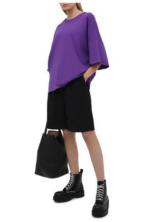 Женская хлопковая футболка ALEXANDRE VAUTHIER фиолетового цвета, арт. 212TS1400B 1229B-204 | Фото 2