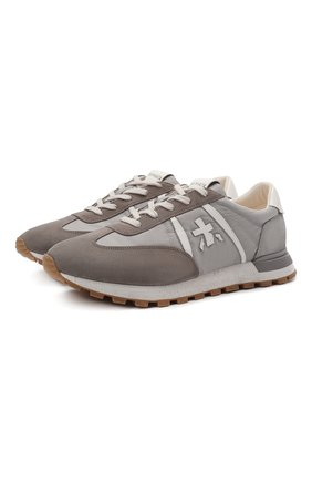 Мужские комбинированные кроссовки john-low PREMIATA серого цвета, арт. J0HNL0W/VAR5182 | Фото 1