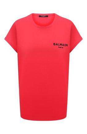 Женская хлопковая футболка BALMAIN красного цвета, арт. VF0EF010/B013 | Фото 1