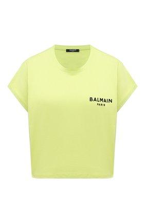 Женская хлопковая футболка BALMAIN салатового цвета, арт. VF0EE005/B013 | Фото 1