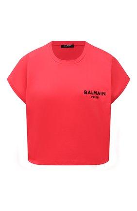 Женская хлопковая футболка BALMAIN красного цвета, арт. VF0EE005/B013 | Фото 1