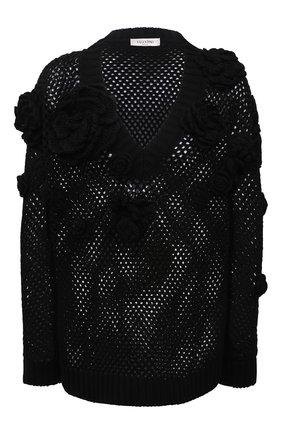 Женский хлопковый пуловер VALENTINO черного цвета, арт. VB0KC22L6BU | Фото 1
