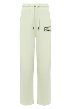 Женские хлопковые брюки OFF-WHITE светло-зеленого цвета, арт. 0WCH008S21JER001 | Фото 1