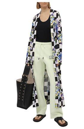 Женские хлопковые брюки OFF-WHITE светло-зеленого цвета, арт. 0WCH008S21JER001 | Фото 2