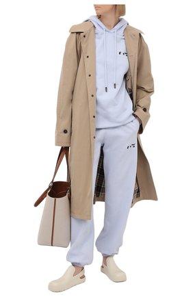 Женский хлопковое худи OFF-WHITE сиреневого цвета, арт. 0WBB035S21JER004 | Фото 2