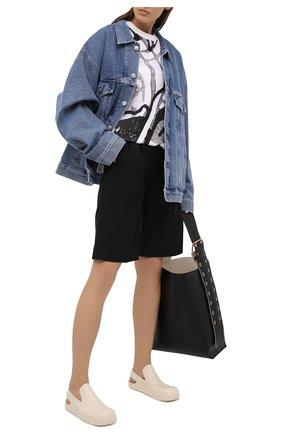 Женская хлопковая футболка KENZO черно-белого цвета, арт. FB52TS6474SB   Фото 2