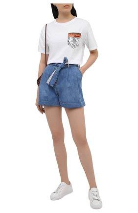Женские джинсовые шорты ERMANNO FIRENZE голубого цвета, арт. D38ET JC020PR | Фото 2