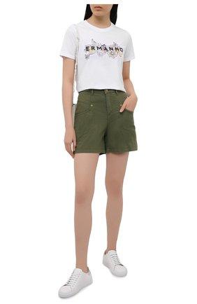 Женские джинсовые шорты ERMANNO FIRENZE зеленого цвета, арт. D38ET JC040PR | Фото 2