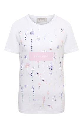 Женская хлопковая футболка ERMANNO FIRENZE белого цвета, арт. D38ET TS06JEA | Фото 1