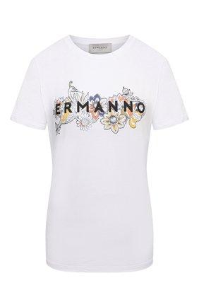 Женская хлопковая футболка ERMANNO FIRENZE белого цвета, арт. D38ET TS061JEA | Фото 1