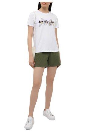 Женская хлопковая футболка ERMANNO FIRENZE белого цвета, арт. D38ET TS061JEA | Фото 2