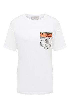 Женская хлопковая футболка ERMANNO FIRENZE белого цвета, арт. D38ET TS111JC0 | Фото 1