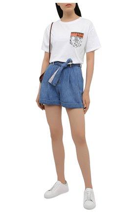 Женская хлопковая футболка ERMANNO FIRENZE белого цвета, арт. D38ET TS111JC0 | Фото 2