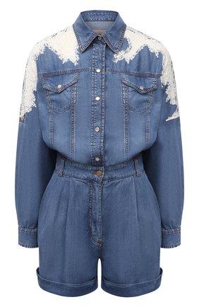 Женский джинсовый комбинезон ERMANNO FIRENZE голубого цвета, арт. D38ET UT010PR | Фото 1
