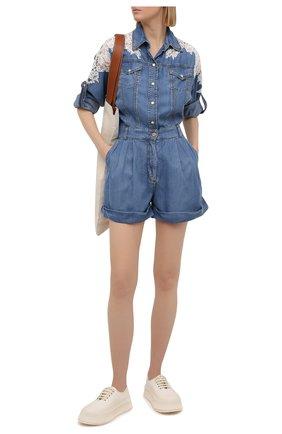 Женский джинсовый комбинезон ERMANNO FIRENZE голубого цвета, арт. D38ET UT010PR | Фото 2