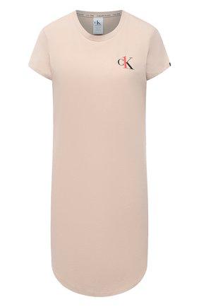 Женская хлопковая сорочка CALVIN KLEIN бежевого цвета, арт. QS6358E | Фото 1