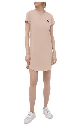 Женская хлопковая сорочка CALVIN KLEIN бежевого цвета, арт. QS6358E | Фото 2