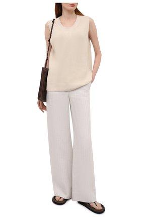 Женские льняные брюки LORO PIANA светло-бежевого цвета, арт. FAL6317 | Фото 2