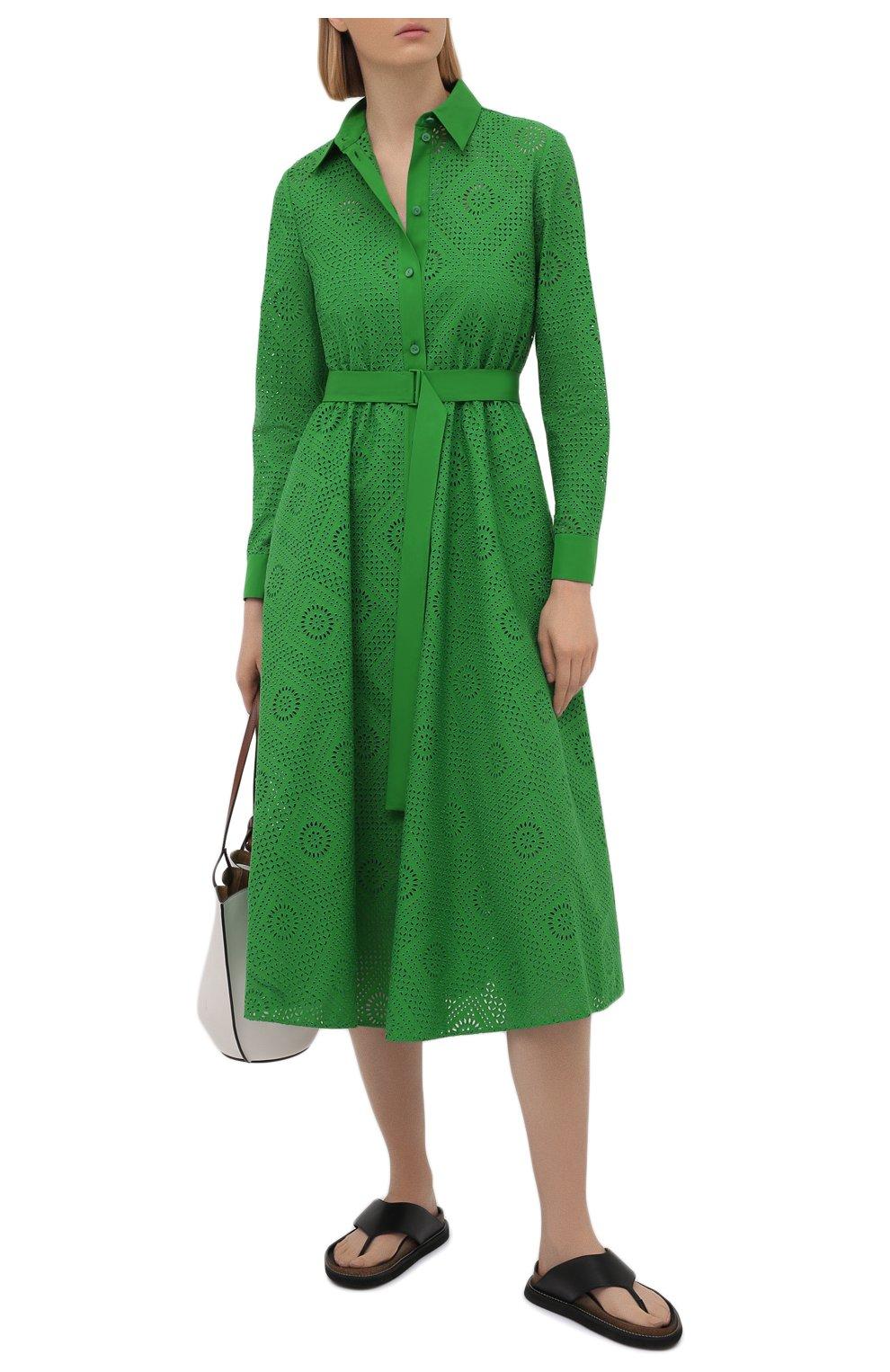 Женское хлопковое платье LORO PIANA зеленого цвета, арт. FAL5871 | Фото 2