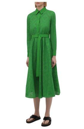Женское хлопковое платье LORO PIANA зеленого цвета, арт. FAL5871 | Фото 3