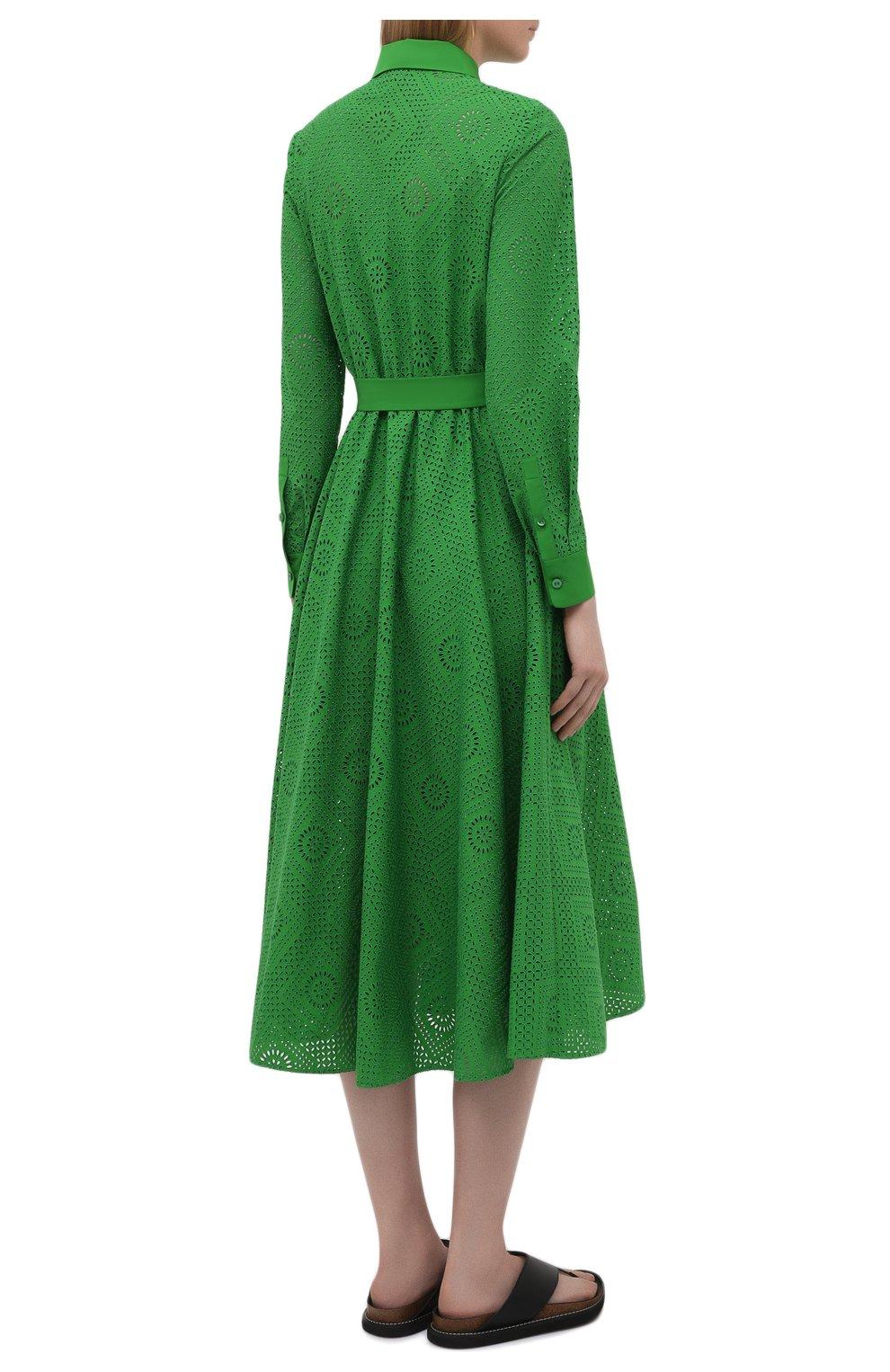 Женское хлопковое платье LORO PIANA зеленого цвета, арт. FAL5871 | Фото 4