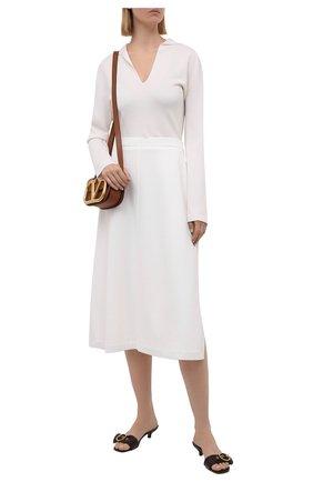 Женская юбка из шелка и хлопка LORO PIANA белого цвета, арт. FAL5863   Фото 2 (Материал внешний: Хлопок, Шелк; Стили: Кэжуэл; Женское Кросс-КТ: Юбка-одежда; Длина Ж (юбки, платья, шорты): Миди; Кросс-КТ: Трикотаж)