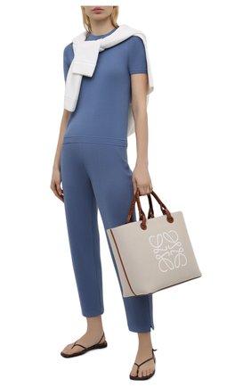 Женские брюки из шелка и хлопка LORO PIANA голубого цвета, арт. FAL5826 | Фото 2