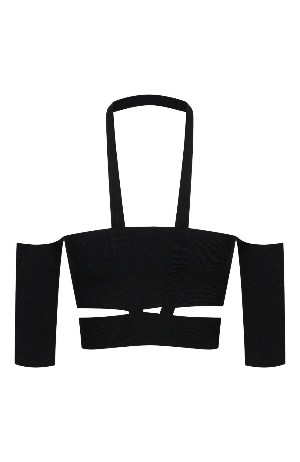 Женский топ из вискозы AMBUSH черного цвета, арт. BWHA002S21KNI001 | Фото 1