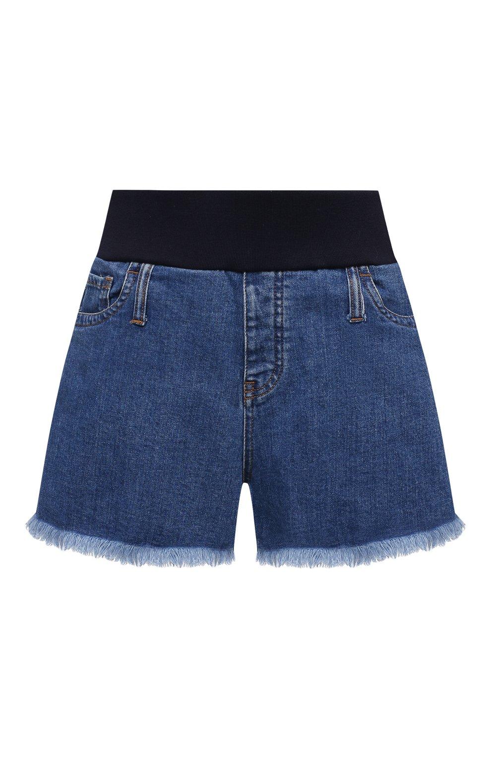 Женские джинсовые шорты PIETRO BRUNELLI синего цвета, арт. JP0SH0/DEC096 | Фото 1 (Женское Кросс-КТ: Шорты-одежда; Кросс-КТ: Деним; Длина Ж (юбки, платья, шорты): Мини; Материал внешний: Хлопок; Стили: Спорт-шик)