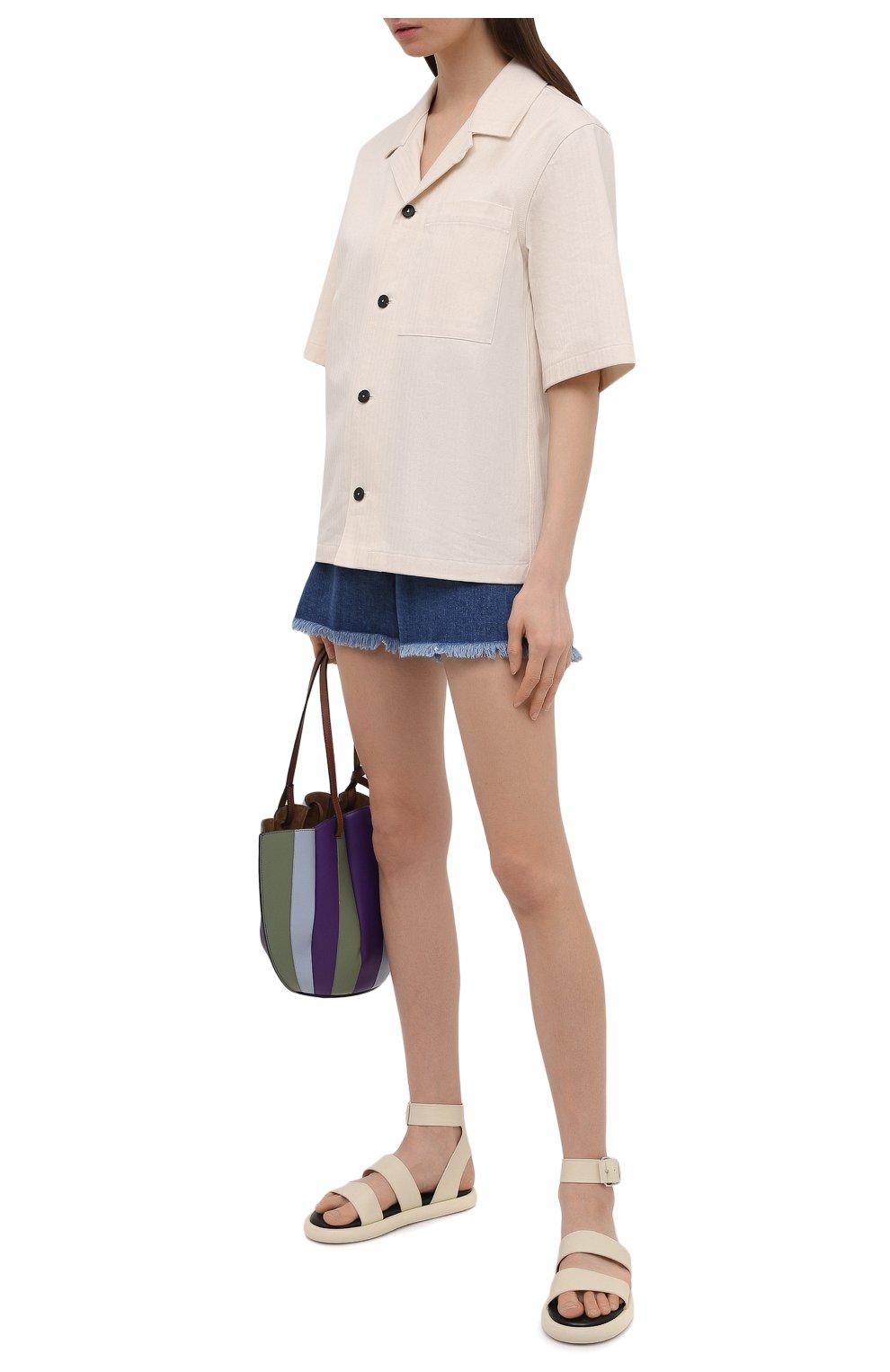 Женские джинсовые шорты PIETRO BRUNELLI синего цвета, арт. JP0SH0/DEC096 | Фото 2 (Женское Кросс-КТ: Шорты-одежда; Кросс-КТ: Деним; Длина Ж (юбки, платья, шорты): Мини; Материал внешний: Хлопок; Стили: Спорт-шик)