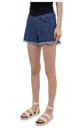 Женские джинсовые шорты PIETRO BRUNELLI синего цвета, арт. JP0SH0/DEC096 | Фото 3 (Женское Кросс-КТ: Шорты-одежда; Кросс-КТ: Деним; Длина Ж (юбки, платья, шорты): Мини; Материал внешний: Хлопок; Стили: Спорт-шик)