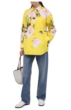 Женская хлопковая рубашка VALENTINO желтого цвета, арт. VB0CI2606D6 | Фото 2