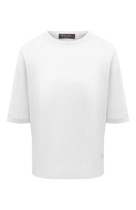 Женская льняная футболка LORO PIANA белого цвета, арт. FAL5833 | Фото 1