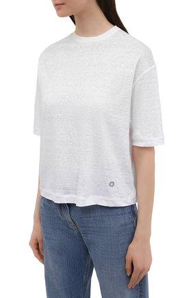 Женская льняная футболка LORO PIANA белого цвета, арт. FAL5833 | Фото 3